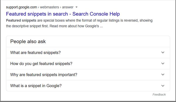 people ask box serp