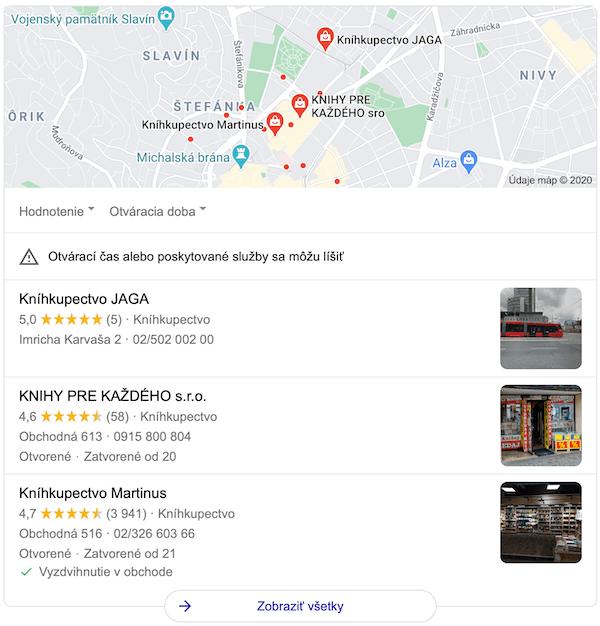 knihkupectvo maps SERP